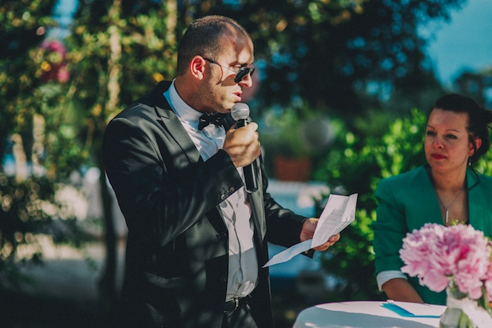 Discours du frère du marié pendant la cérémonie laïque d'Alicia et Xavier