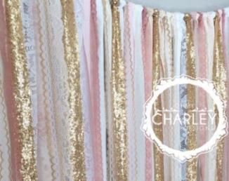 Tissus blanc rose glitter pour arche de cérémonie laïque