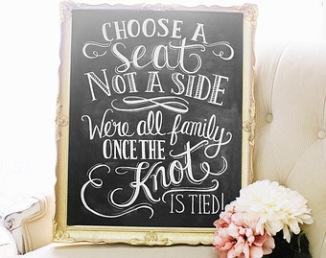 """Pancarte """"Choose a seat"""" pour cérémonie laïque"""