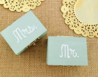 Boîtes bleues Mr et Mrs pour alliances