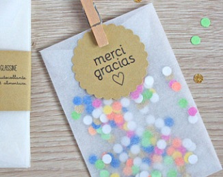 Sachet avec confettis pour sortie de cérémonie laïque