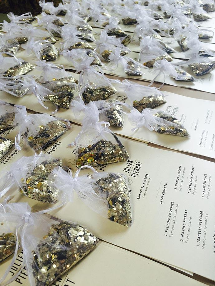 Sachets de paillettes pour la sortie de cérémonie